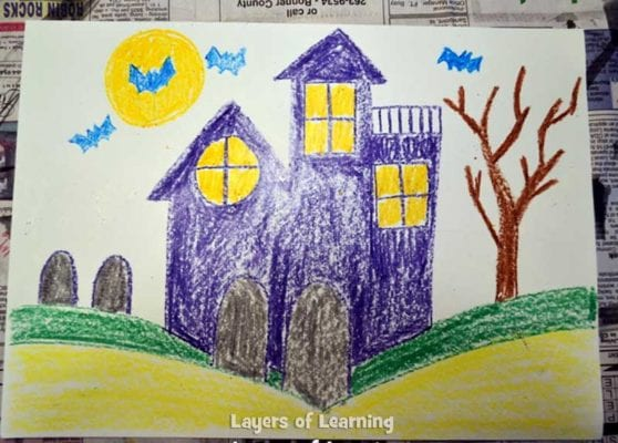Coloring-the-Haunted-House-Wax-Resist-Art