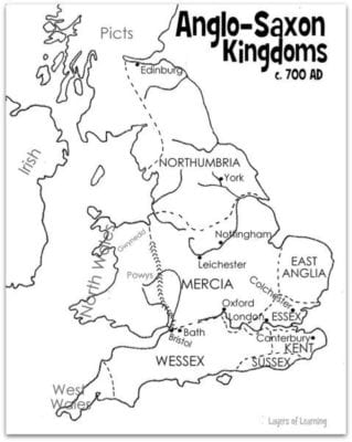 Map of Anglo Saxon Kingdoms - Layers of Learning