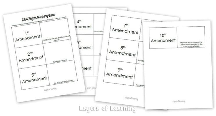 Printables Bill Of Rights Matching Worksheet bill of rights for kids layers learning matching game