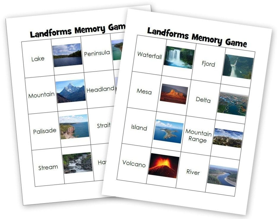 Landforms Memory Game - Layers of Learning