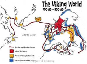A map of Viking raids and settlements.