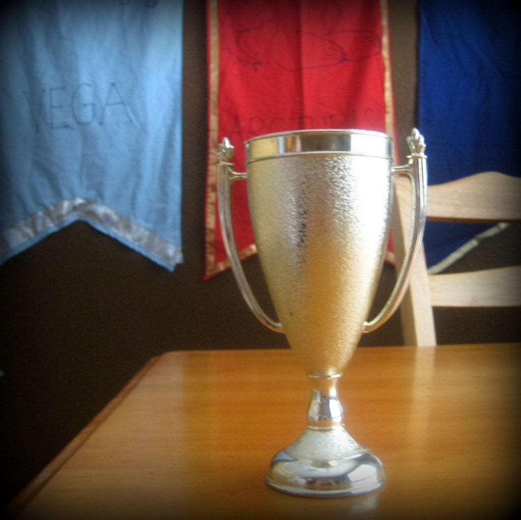 We award a House Cup to the house that earns the most points . . . Karen plays games to quiz for points