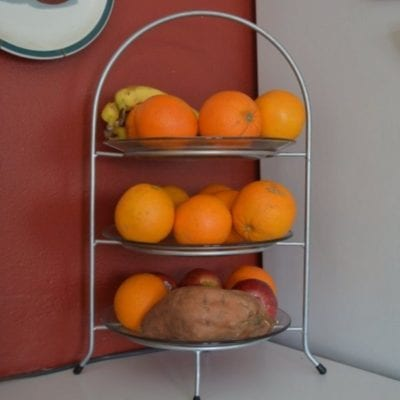 We also keep a fruits and veggie tray on the counter that we can all get a snack from.