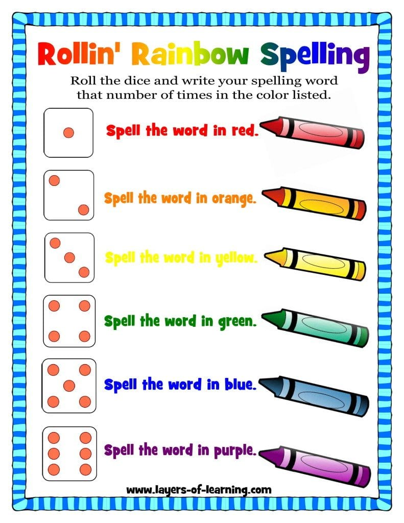 rollin 39 rainbow spelling a spelling activity layers of learning. Black Bedroom Furniture Sets. Home Design Ideas