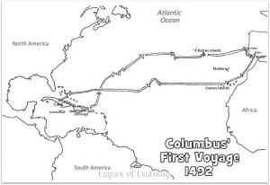 This is a map of Columbus' first voyage to print and color.