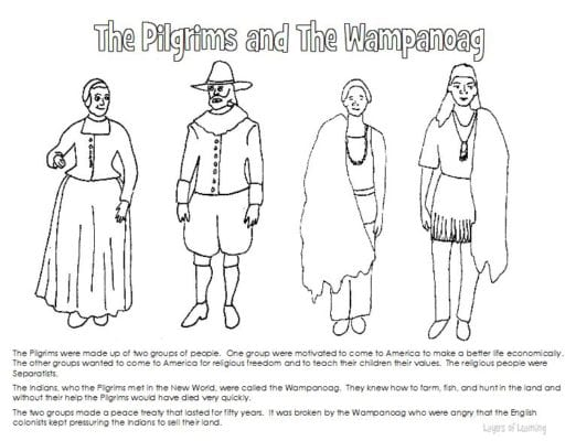 Pilgrims and wampanoag coloring sheet layers of learning for Squanto coloring pages